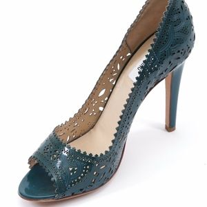 MOSCHINO Pump Patent Leather Teal Peep Toe Lace